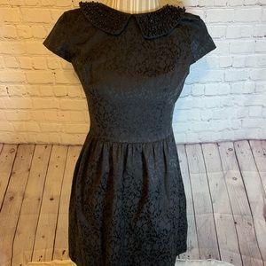 Kensie black cap sleeve, jeweled collar dress, M